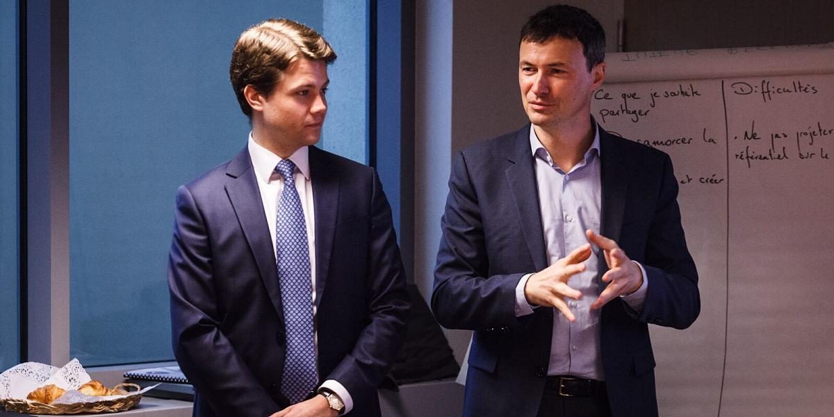 Iaroslav Hublin et Benjamin blavier, fondateur de passeport avenir lors de la formation tuteurs en mars 2016.